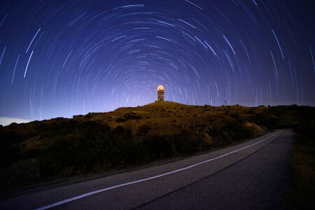 mo: Tai Mo Shan Star trails Stock Photo