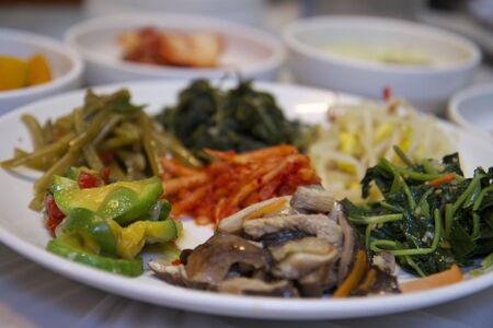White Porcelain Plate of Korean Food Side Dishes Stock Photo - 16269967