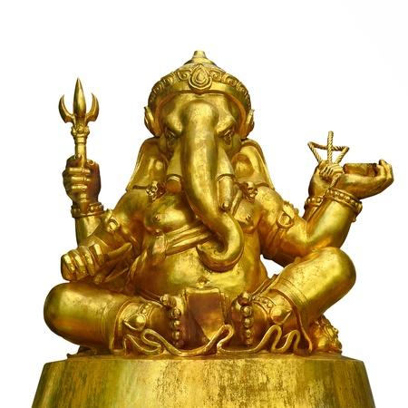 Golden Sculpture Hindu God Ganesha isolated on white background photo