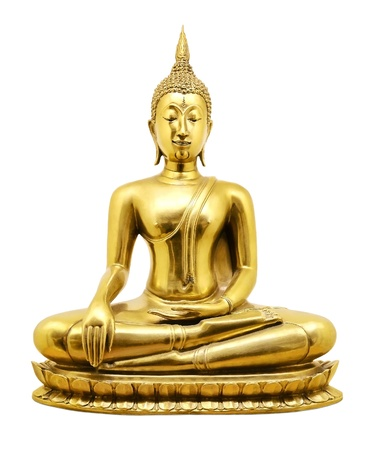 buddha face: Thai golden Buddha isolated on white background Stock Photo