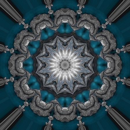 Silver blue oriental ornament  photo
