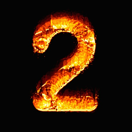 numeric: Fire numeric, Number 2 Stock Photo