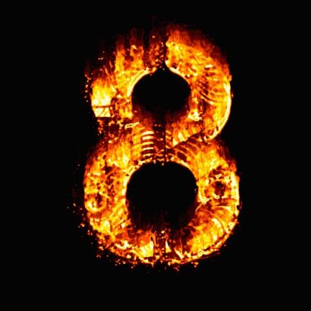 numeric: Fire numeric, Number 8