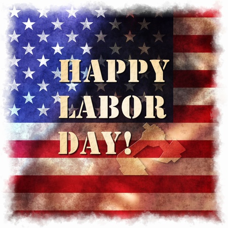 labor day: Happy Labor day american, text signs on grunge illustration background  Stock Photo