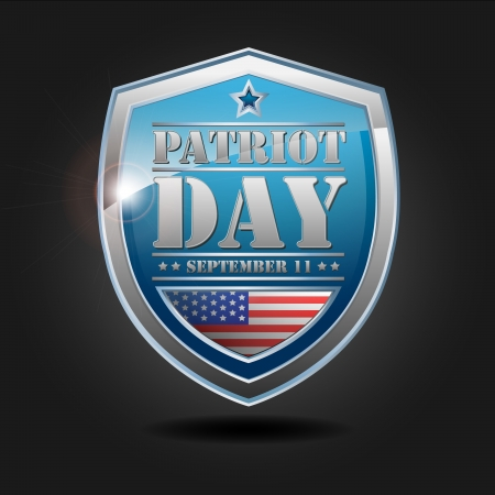 Patriot day - september 11, Text and USA flag on blue shield photo