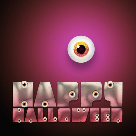 Happy Halloween text with eyeball on pink background  photo
