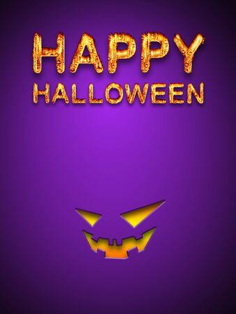 Happy Halloween Text with Jack O Lantern Symbol on Purple Background  photo
