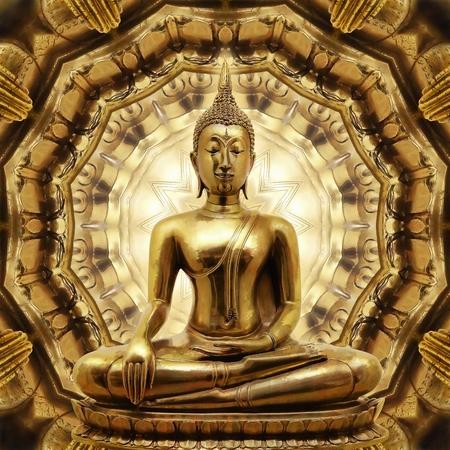 buddha statue: Thai golden Buddha on Oriental gold ornament texture background  Stock Photo