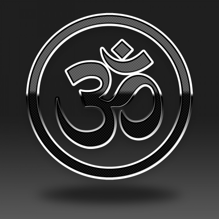 Om Symbol icon glossy, on grey background  photo