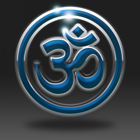 east indian: Om Symbol icon glossy, on grey background  Stock Photo