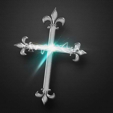 Metal Jesus Cross with power sparkling light effect on grey background  photo