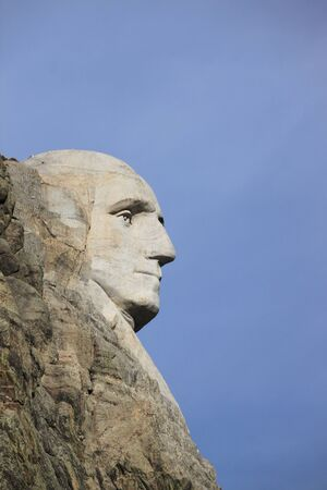 Profile of George Washington carving at Mount Rushmore National Monument, South Dakota