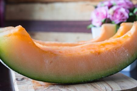 cantaloupe: cantaloupe melon slices Stock Photo