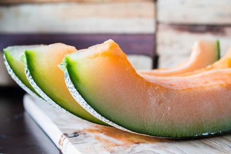 cantaloupe melon slices Stock Photo