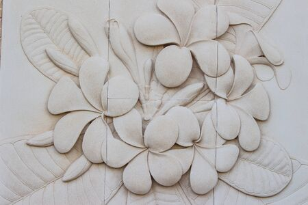 asian style: Flowers carved stone walls