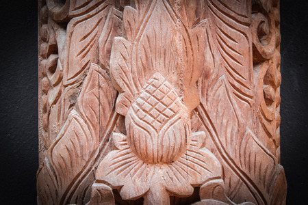wood carvings: Wood Thai pattern Handmade wood carvings. Chiang Rai Thailand Stock Photo