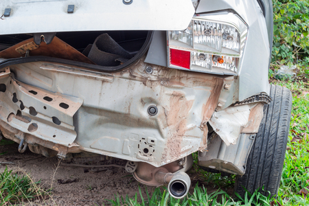 fender bender: Details of a car in an accident, view from the back. Stock Photo