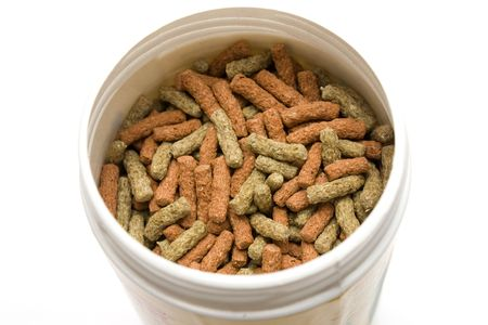 Some isolated pet food with white background photo