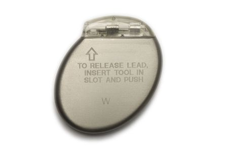 A cardiac pacemaker in a isolated white background