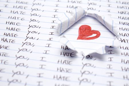 writting: Some hand writting saying i hate you. Red heart hand drawing Stock Photo