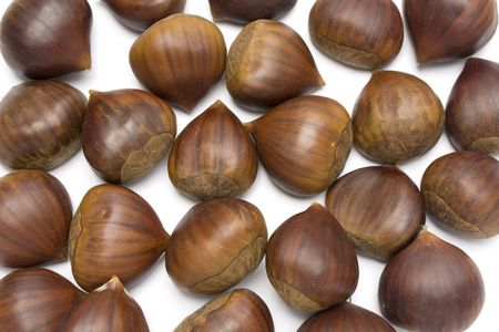 isolated brown chestnuts with a white background photo