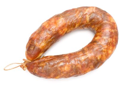 One Smoked pork sausage, portuguese chouri�o, smoked blood sausage