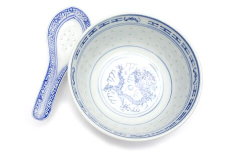 asian spoon and bowl made of fine china