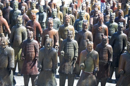 one chinese army represented by clay statues