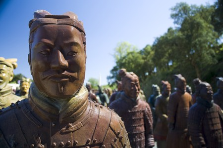 imperialism: one chinese army represented by clay statues