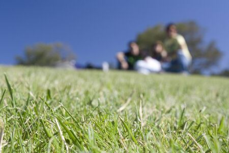 One out of focus group of people playing in the grass Stock Photo