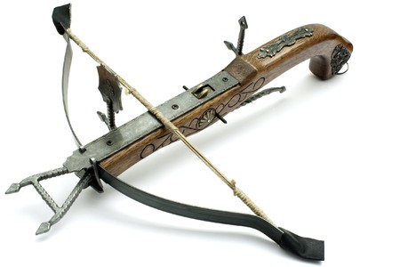 old wood crossbow isolated in white background Stock Photo