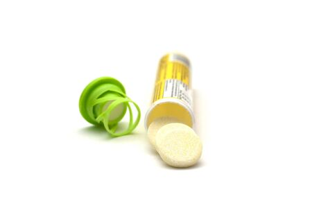 soluble: one tube of effervescent pills of vitamin C Stock Photo