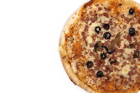 Tasty Italian pizza, isolated on white background. Stock Photo
