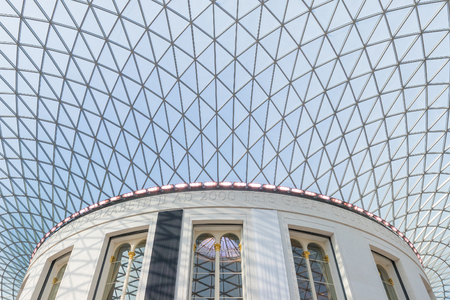 Interior view to the architecural details of the glass dome of a museum in London Editorial