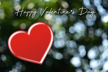 Valentines day card with hearts.Heart shape on blurred bokeh background. Put the text on the heart, suitable for a Valentine's Day card.