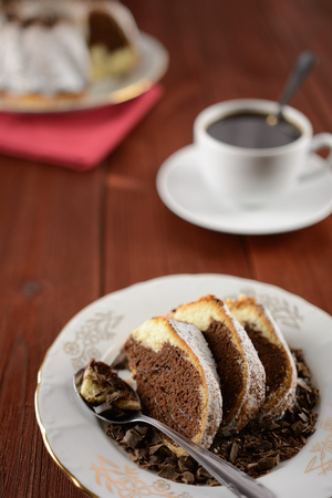 Marble cake with cocoa, dark chocolate and sprinkled with sugar