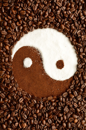 equipoise: Yin yang symbol made out of coffee beans