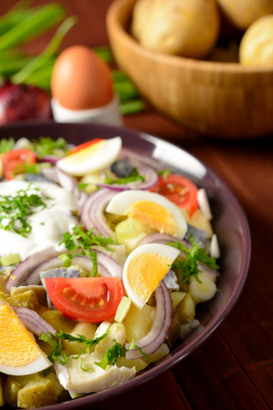 vitamin rich: Fish salad with potatoes, eggs, red onion, tomatoes and dressing