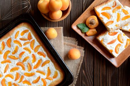 curd: Apricot pie with curd Stock Photo