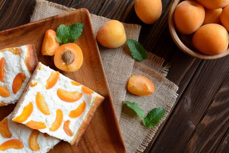 Apricot pie with curd Stock Photo