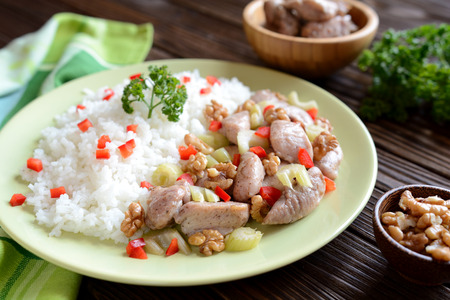 stalk: Roasted chicken meat with stalk celery, roasted walnuts and rice