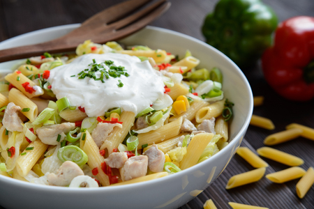 scallion: Penne pasta salad with fried chicken meat, lettuce, red pepper, scallion and sour cream dressing Stock Photo