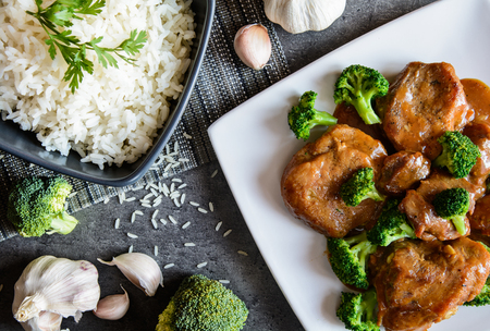 balsamic vinegar: Steamed pork thighs with balsamic vinegar sauce and roasted broccoli and rice