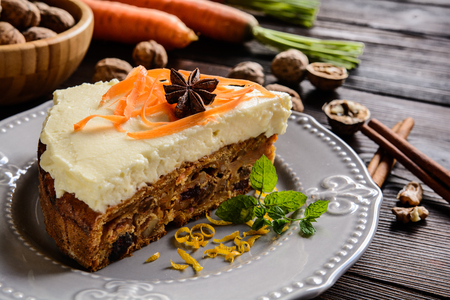 Carrot cake with mascarpone, walnuts, cranberries and raisins