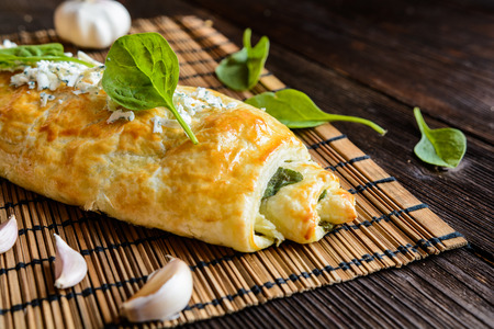 Savory strudel stuffed with spinach, Roquefort, Feta cheese and garlic