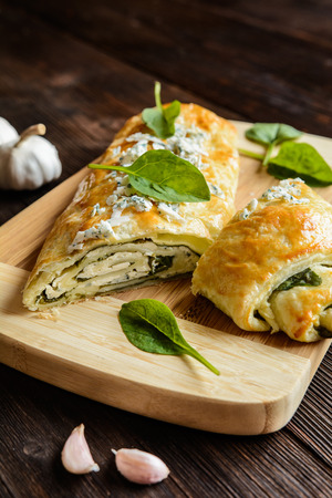 roquefort: Savory strudel stuffed with spinach, Roquefort, Feta cheese and garlic