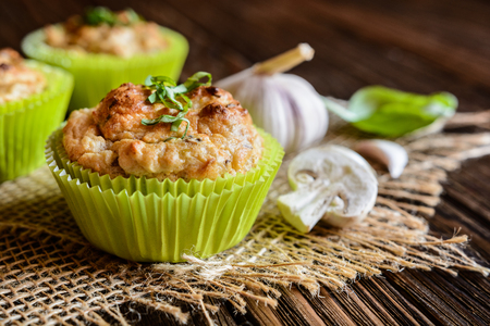 and savory: Savory muffins with mushrooms, eggs, green onion and basil