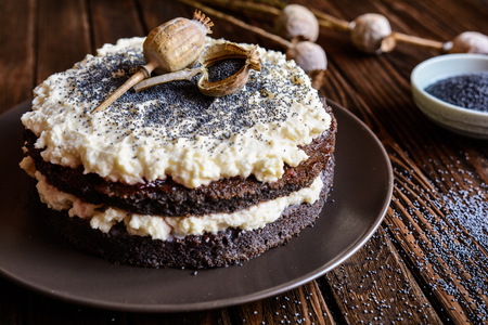 poppy seeds: Poppy seeds cake with whipped cream and mascarpone filling Stock Photo