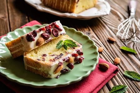 Delicious fruit bread with cranberries, almond and white chocolate topping