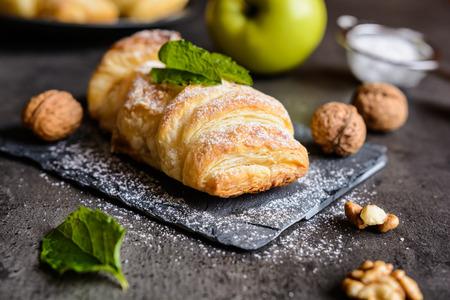 Sweet rolls stuffed with apple and walnut